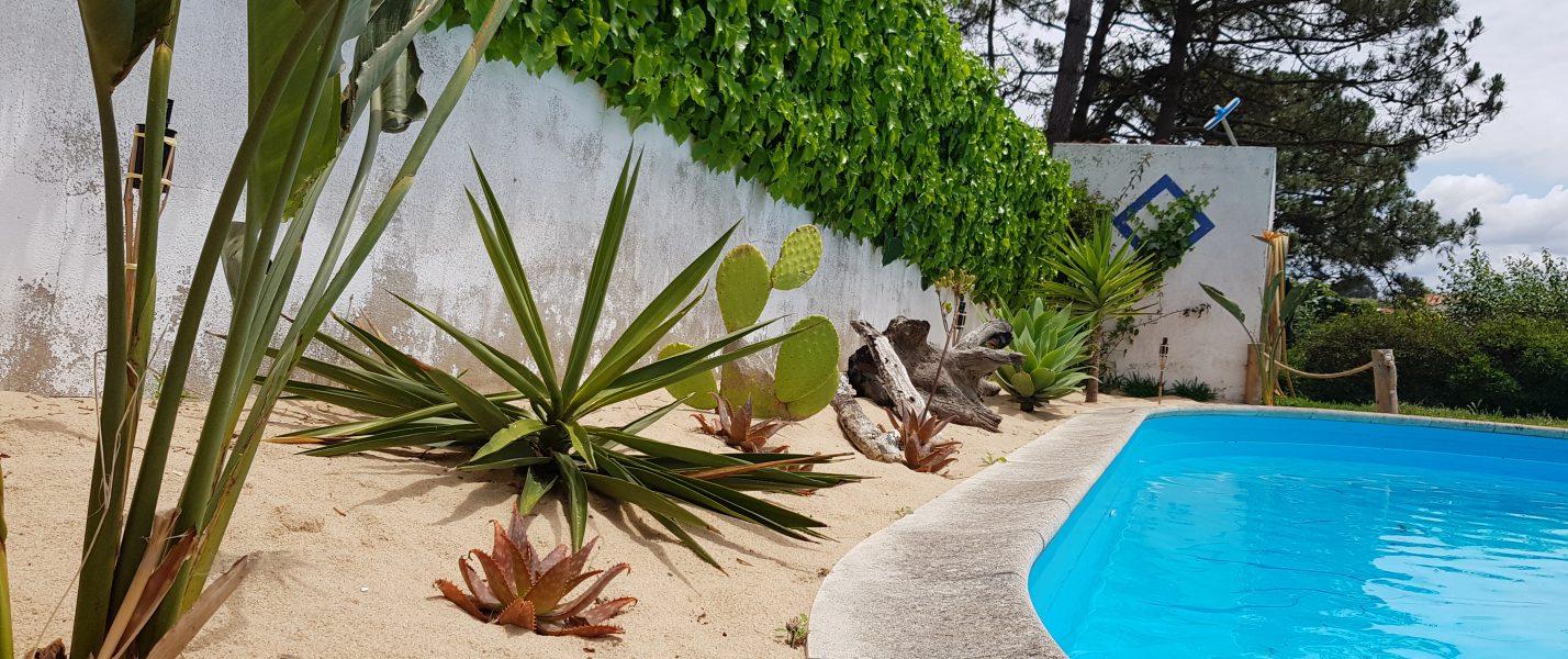 swimming pool house portugal vacation surf swim plants garden